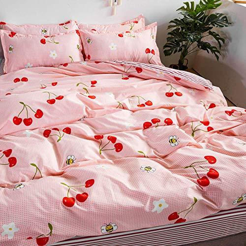 Bayrick Bettwäsche Set Cover,Bettwäscheset Unifarbener Bettbezug aus gebürsteter Mikrofaser mit Kissenbezügen-Medium pink_180 * 220 (6 feet) 4-TLG