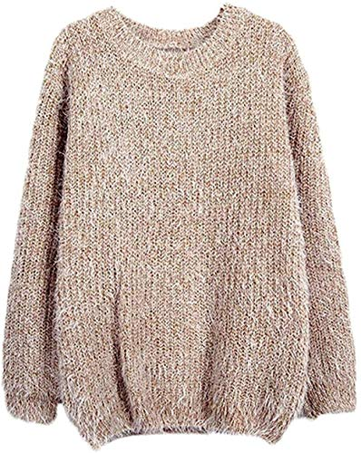 DBM Suéter de manga larga para mujer, cuello redondo, grueso, para otoño, suave, invierno, moda, estilo casual, cálido, mullido y elegante jersey de punto camel Tallaúnica