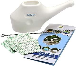 HealthGoodsIn - Traveller's Neti Pot for Nasal Cleansing with 10 Sachets Neti Salt + 1 Cleaning Brush