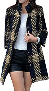 〓COOlCCI〓Plaid Trench Coats for Women, Winter Overcoat Lapel Double Breasted Wool Blend Coat Pea Coat Outerwear Jacket