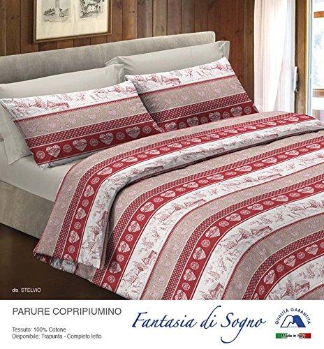 Smartsupershop Parure Housse de Couette 1 Place et Demi – Stelvio tyrolien – en Coton Made in Italy MG