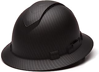 Pyramex Ridgeline Full Brim Hard Hat, Vented, 4-Point Ratchet Suspension, Matte Black..