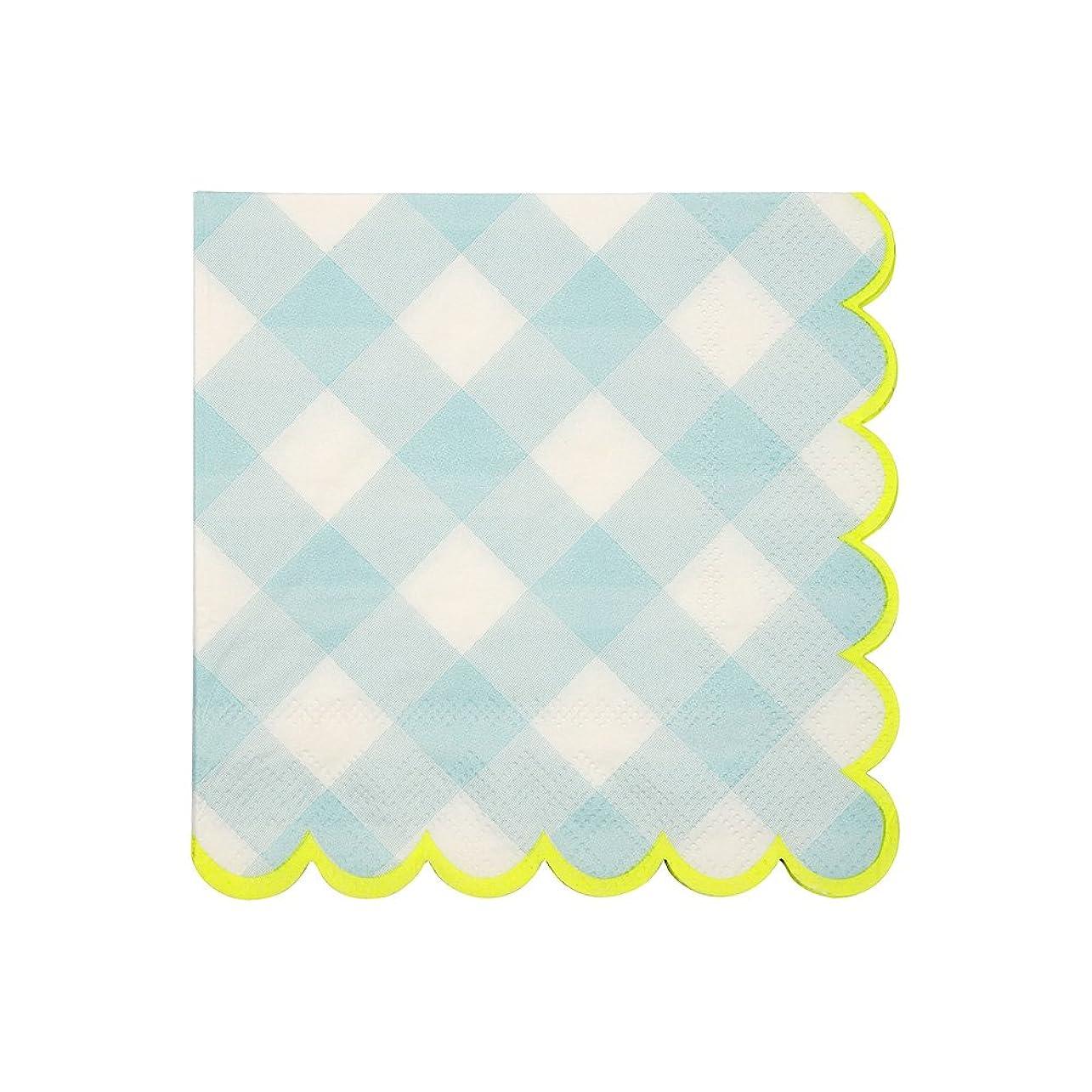 飢えた面激怒Meri Meri(メリメリ) ペーパーナプキン ブルー 約24.5x24.5cm BLUE GINGHAM SMALL NAPKIN 45-3212 20枚入