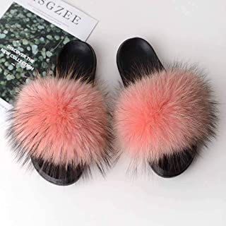 GJJYY Womens Slippers,PVC Sole Material Animal Fur Grass Fluffy Mules Slippers Comfortable Non-slip Sole Fur Slides with Arch Support Open Toe Flat Sandals for Indoor Outdoor Fluffy Sandal