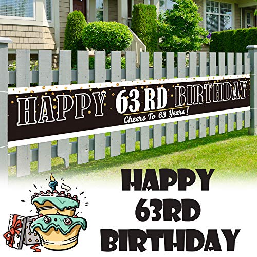 LINGPAR 9.8 x 1.6 ft Large Sign Happy 63rd Birthday Banner - Cheers to 63rd Years Old Decor