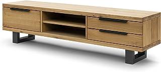 COMIFORT Mueble de TV - Mesa de Roble Macizo para Salón Moderno Estilo Nórdico con 3 Cajones y 2 Estantes Patas de Acer...