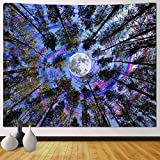 Funeon Trippy Tapestry Wall Hanging Psychedelic Forest Tree Colorful Moon Purple Ceiling Tapestry for Bedroom Teen Girls Cute Small Dorm College Tapestry Indie Room Wall Decor Aesthetic 51x60 inch
