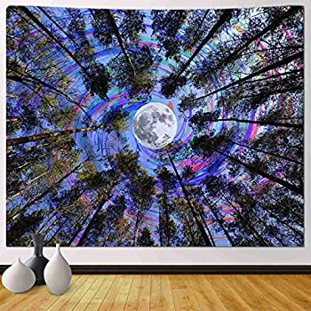 Funeon Trippy Tapestries Wall Hanging Psychedelic Forest Tree Colorful Moon Purple Ceiling Tapestry for Bedroom Teen Girls Cute Small Dorm College Tapestry Indie Room Wall Decor Aesthetic 51x60 inch