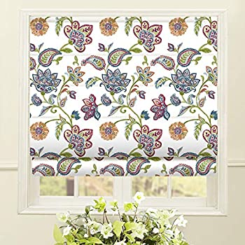 Artdix Roman Shades Blackout Window Shades - White Fabric Lined Custom Floral Roman Shades Blinds for Windows Doors French Doors Kitchen Windows