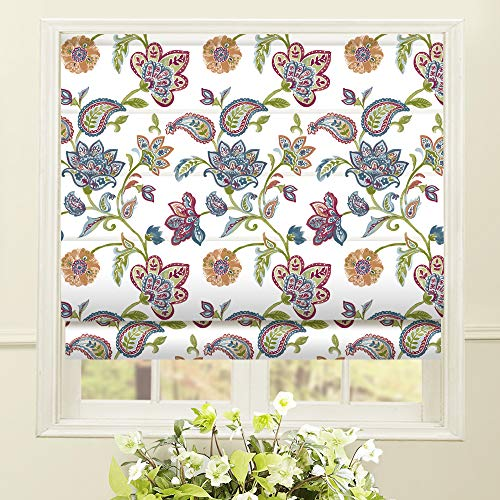 Artdix Roman Shades Blackout Window Shades - White Fabric Lined Custom Floral Roman Shades Blinds for Windows, Doors, French Doors, Kitchen Windows