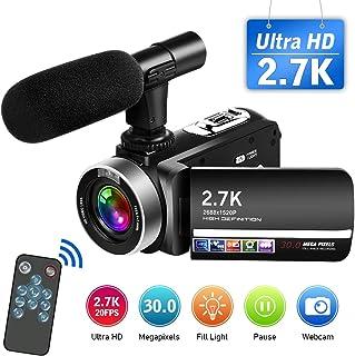 Videocámara Cámara de Video 2.7K Videocamara Full HD 30MP con Micrófono Control Remoto Videocámara Pantalla Táctil Giratoria y Función de Cámara Web