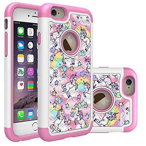 Iphone 6S Case, Iphone 6 Bling Case, Rainbow Unicorn Pattern Heavy Duty Shockproof Studded Rhinestone Crystal Bling Hybrid Case Silicone Protective Armor for Apple iphone 6S iphone 6