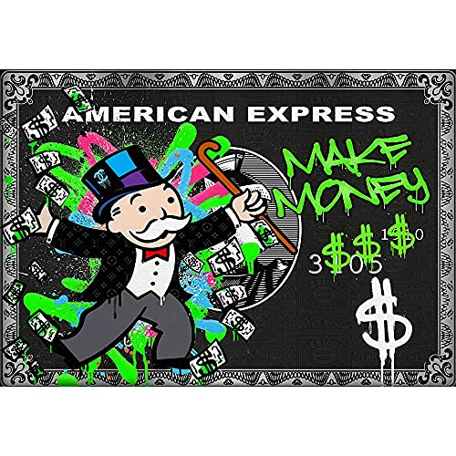 YCHND Graffiti Monopoly Millionaire Money Impresiones en Lienzo Arte Callejero Póster Cuadro Imagen Mural Sala de Estar Dormitorio Decoración de la Pared del hogar 80x60cm Sin Marco