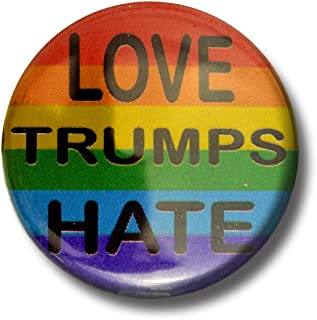 """Set LOVE TRUMPS HATE on Rainbow buttons (SET OF 6) 1.25"""" or 3.175cm pin back button"""
