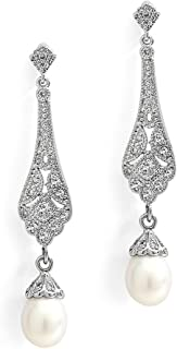 Mariell Cubic Zirconia Vintage Art Deco Dangle Earring with Freshwater Pearl Drops for Brides or Weddings