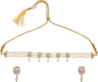 Archi Collection Moti Choker Traditional Ethnic Beaded Necklace Jewellery Set for Women Girls