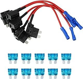 HUIQIAODS 12V 24V Car Add A Circuit Fuse Tap Piggy Back Blade Holder Plug Socket Pack of 5