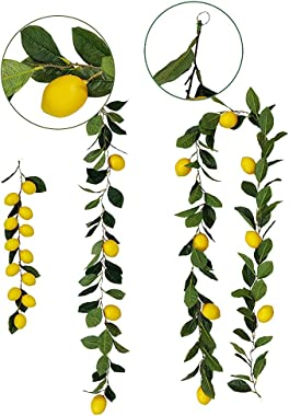 Kuppn Artificial Lemon Garland, Artificial Fruit Garland Vines with Fake Yellow Lemons and Green Leaves, 195cm Simulation Sum
