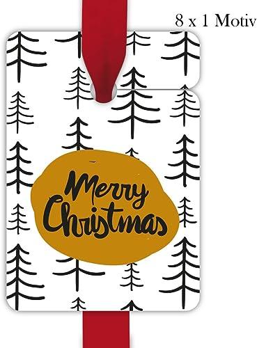 10 x 8 Designer Weißachts Geschenkanh er, Geschenkkarten, Papieranh er, H e Etiketten, Tags zu Weißachten mit Tannen Wald  Merry Christmas, Format 10 x 6,9cm