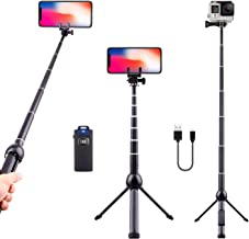 Selfie Stick Tripod Bluetooth, LATZZ 45 Inch Phone Tripod, Extendable iPhone Stand Tripod with Wireless Remote Shutter Compatible iPhone Xs MAX/XR/X/8/8P/7/7P/6/6P/Galaxy Note 8/S9+/S9, More