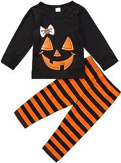 Kids Toddler Baby Girl Boy Pumpkin Face T-Shirt Tops+Striped Pants Outfit Pajamas Set Halloween Clothes