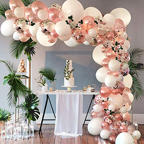HALOVIE Arche Ballon Or Rose, 104pcs Kit Arche Ballon Anniversaire Rose Gold Fille Mariage Saint Valentin Guirlande Ballon Décoration, Ballons Confettis avec Bande et Ruban