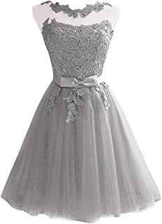 JAEDEN Lace Short Homecoming Dress Tulle Cocktail Party Dress with Sash