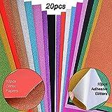 JNCH 20 Feuilles A4 Papier Paillette Autocollant + Papier Glitter Brillant Coloré Bling pour Scrapbooking Carte Décoration Album DIY Bricolage Artisanat (10pcs adhésif + 10pcs Normal)