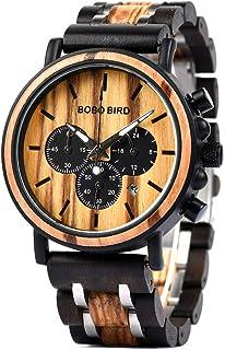BOBO BIRD Mens Wooden Watches Luxury Lightweight Wood Watch Multi-Functional Display Men's Timepieces