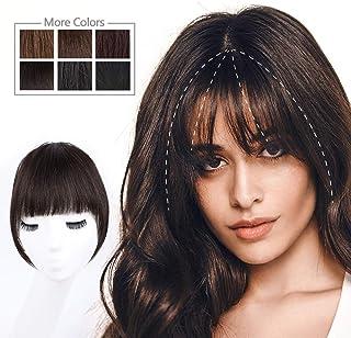 HMD Bangs Hair Clip in Bangs Human Hair Bangs Hairpieces for Women Dark Brown Clip on Bangs Fringe Neat Faker Bangs with T...
