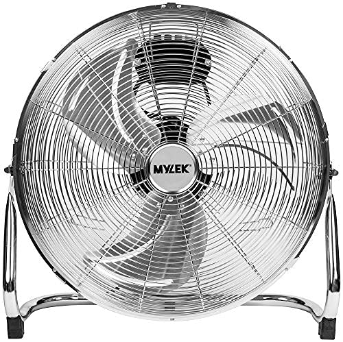 MYLEK High Velocity Floor Fan Air Circulator Industrial Cooling 18 Inch Cool Cold Chrome - 3 Speed Portable - Adjustable Tilt for Gyms, Offices and Warehouses (18')