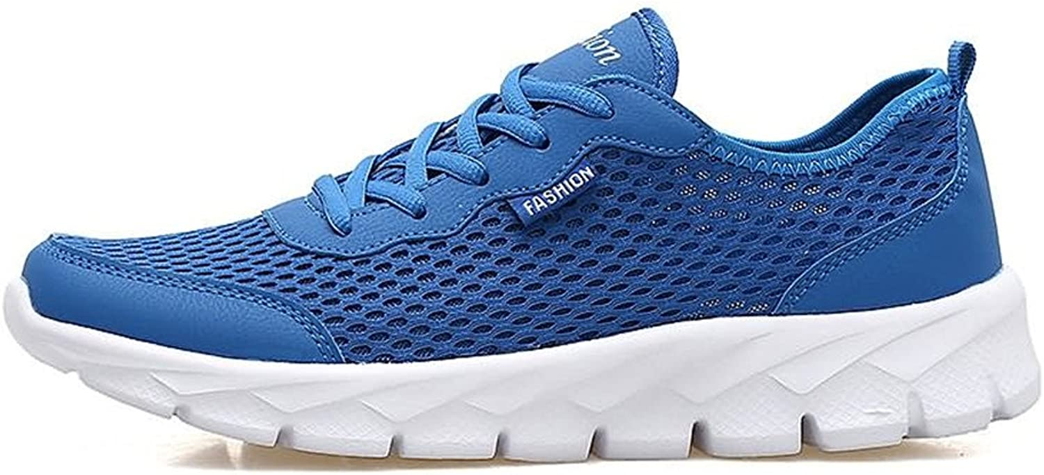 2018 New Men's and Women's Casual Athletic Sneakers Air Ventilation and Odor Control with A Thin Hollow Mesh Lightweight Running shoes (color   bluee, Size   11 D(M) US)