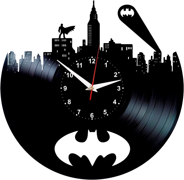 Queen Clocks Batman Signal Wall Clock - Unique Vinyl Record Room Decor - DC Comics Birthday Gifts for Women