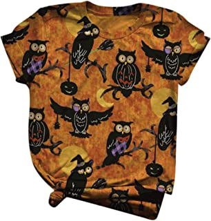 LATINDAY Womens Halloween Printed T-Shirts 3D Graphics Print Short Sleeve Funny Summer T Shirts