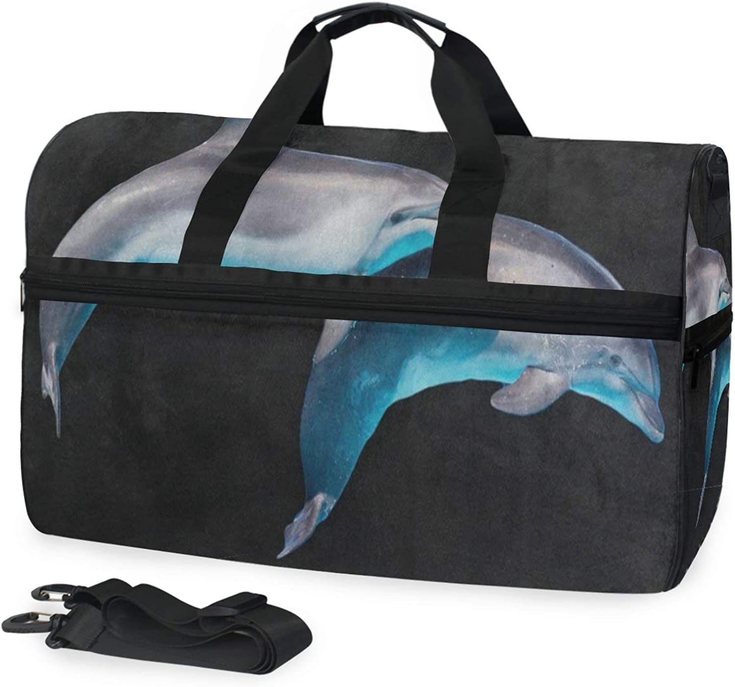Animal Dolphin Fish Black Gym Bag with shoes Compartment Sports Swim Travel Overnight Duffels