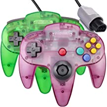 $26 » 2 Pack N64 Controller,Classic Wired N64 Upgrade Joystick Gamepad Controller for Original Nintendo 64 Console-Clear Green a...