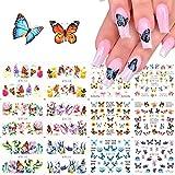 MWOOT 12 Fogli Farfalla Adesivi per unghie,Butterfly Nail Art Water Transfer Sticker Home Decalcomanie per Manicure Con per Bomboniere per Le Unghie DIY Nail Tips Decorazioni