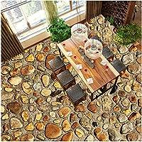 壁の装飾壁画カスタム写真床壁紙3D立体的な石畳の道壁画リビングルームの床防水壁紙ホーム改善-400X280Cm