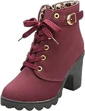 TRENDINAO Womens Ankle Boots 2019 Winter Zipper Lace Up Booties High Heel Platform Shoes