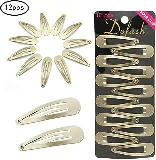 Dofash 12pcs 5CM/2IN Metal Snap Hair Clips Basic Hair Barrettes Hair Accessories for Women(Blonde)