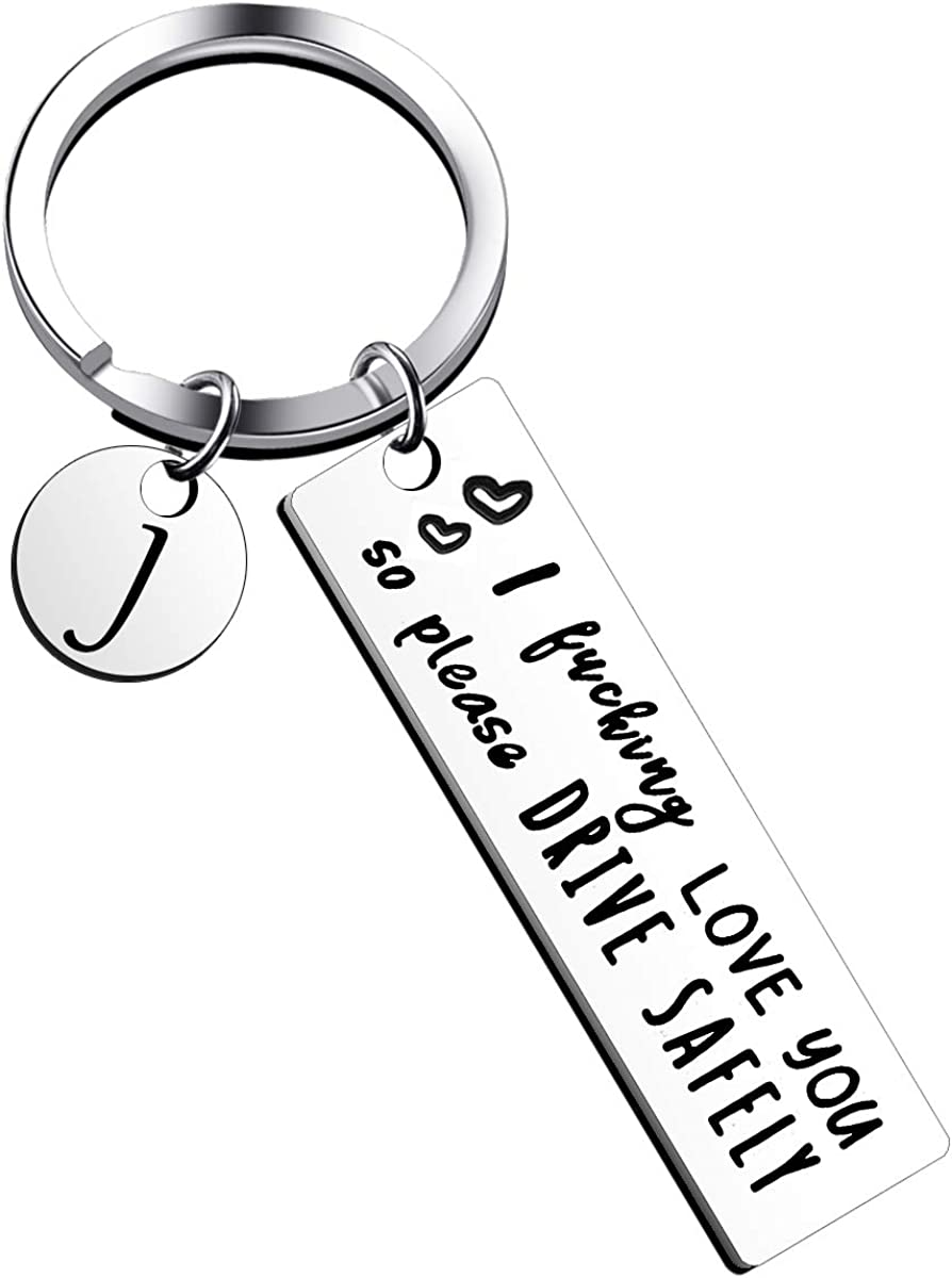 Father's Day Gifts Drive Safe 26 Letter Keychain for Husband Dad Boyfriend