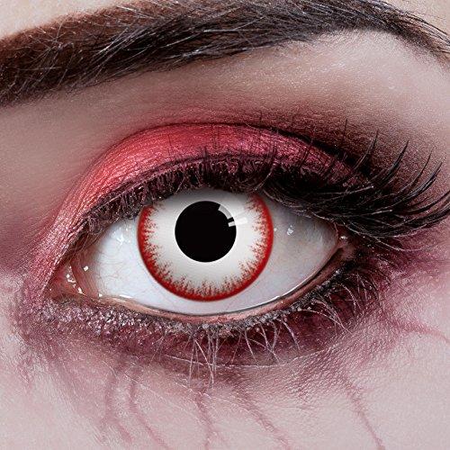aricona Farblinsen – deckend weiß – farbige Kontaktlinsen ohne Stärke – Zombie Night Augenlinsen für Halloween, bunte 12 Monatslinsen