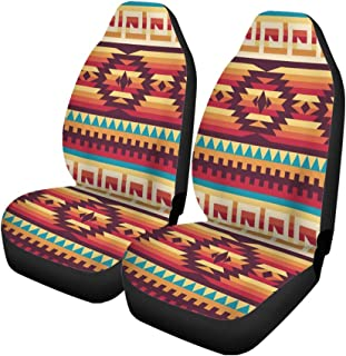 Pinbeam Car Seat Covers Aztec Native American Pattern Navajo African Tribal Peru Ethnic Set of 2 Auto Accessories Protectors Car Decor Universal Fit for Car Truck SUV