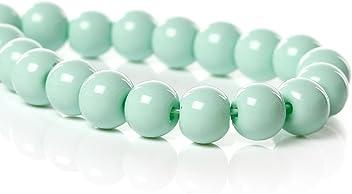 Sadingo runde Glasperlen zum auffädeln glass beads grün, 30 Stk., Ø 4 mm