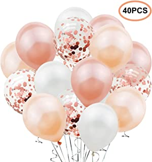 TANKE 40PCS Rose Gold Balloon Kit - 12 Inch Rose Gold Confetti Balloons, Champagne Balloon, White Balloon Latex Party Balloon for Baby Shower Bridal Shower Wedding Birthday Decorations