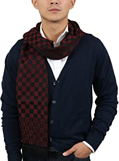 Versace IT00628 ROSSO Dark Red 100% Wool Mens Scarf for mens