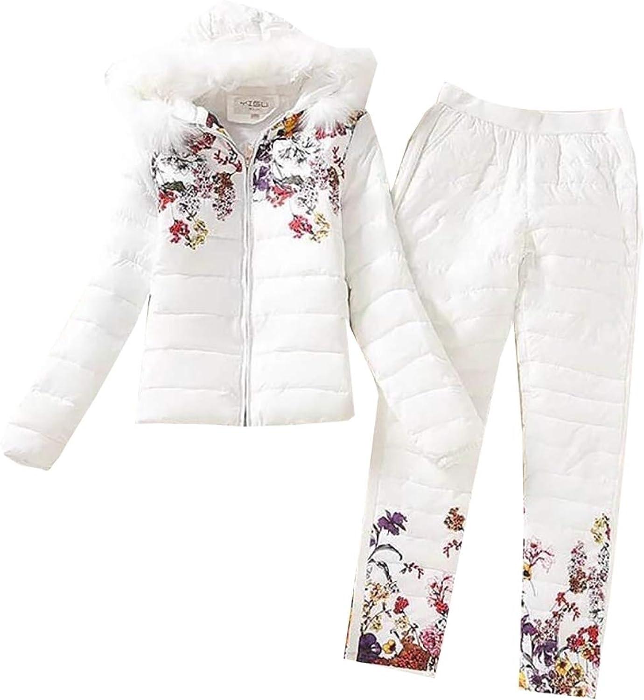 Esast Womens Long Sleeve Print Hooded Fur Down Jacket Pant 2 Piece Set