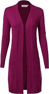 Long Sleeve Long Line Knit Sweater Open Front Cardigan W/Pocket for Women (S-3XL)