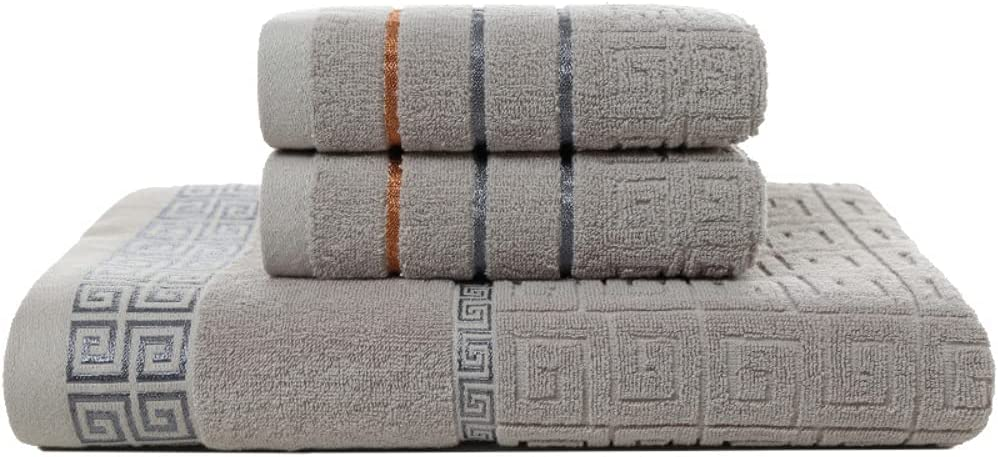 Great Wall Grid Embroidery Max 63% OFF online shopping 100% Bath Three Cotton Towels