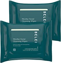 Belei Oil-Free Micellar Facial Cleansing Wipes, Fragrance Free, Alcohol Free, 25 Count (Pack of 2)